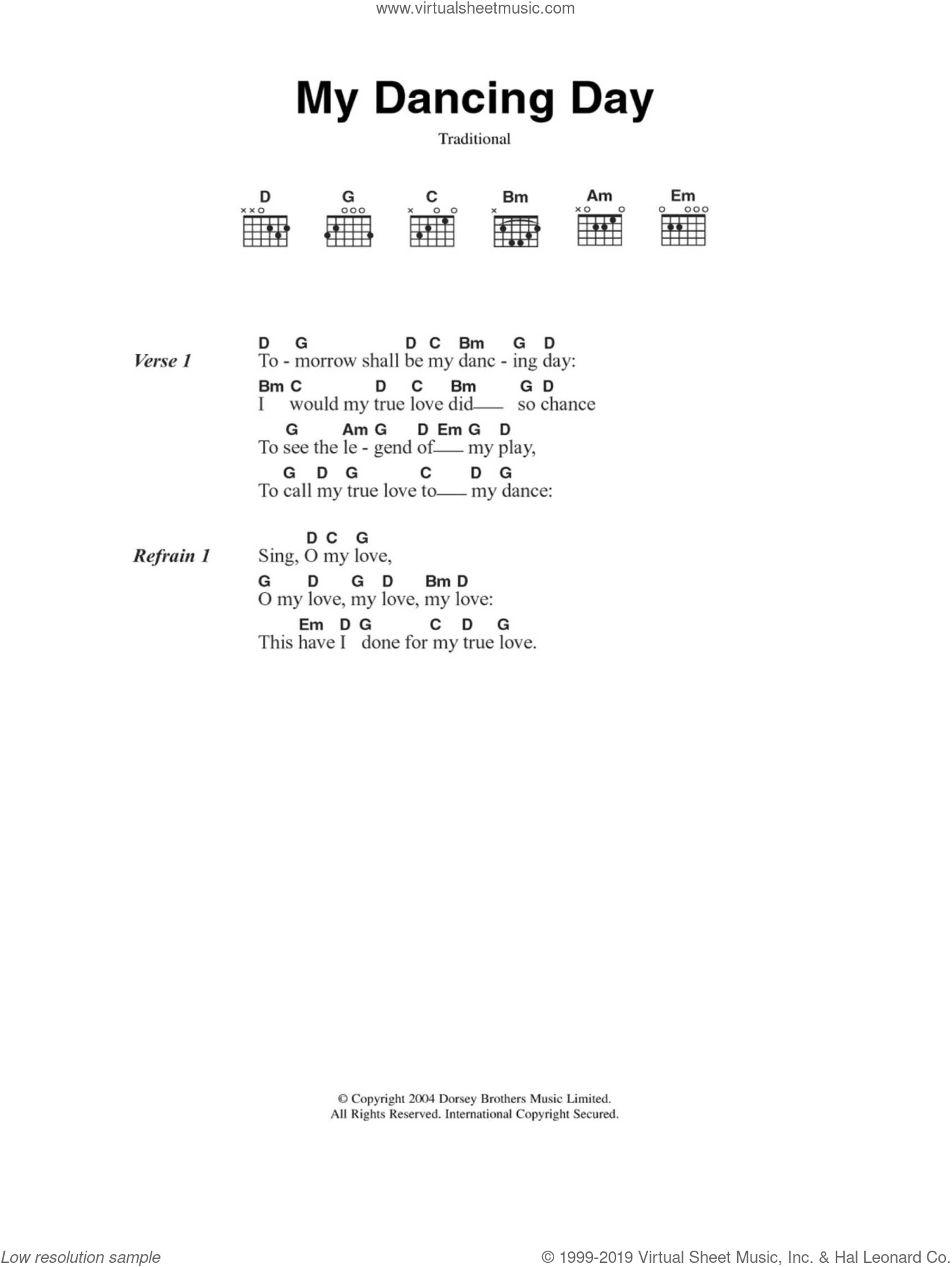 My Dancing Day sheet music for guitar (chords), Christmas carol score, intermediate guitar (chords). Score Image Preview.
