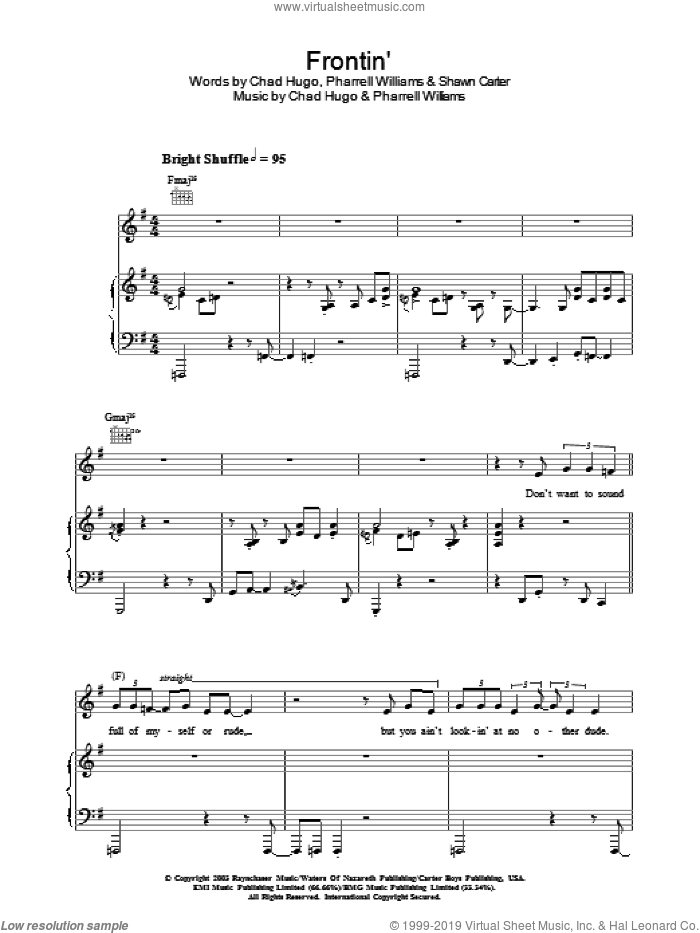 Frontin' sheet music for voice, piano or guitar by Jamie Cullum, intermediate voice, piano or guitar. Score Image Preview.