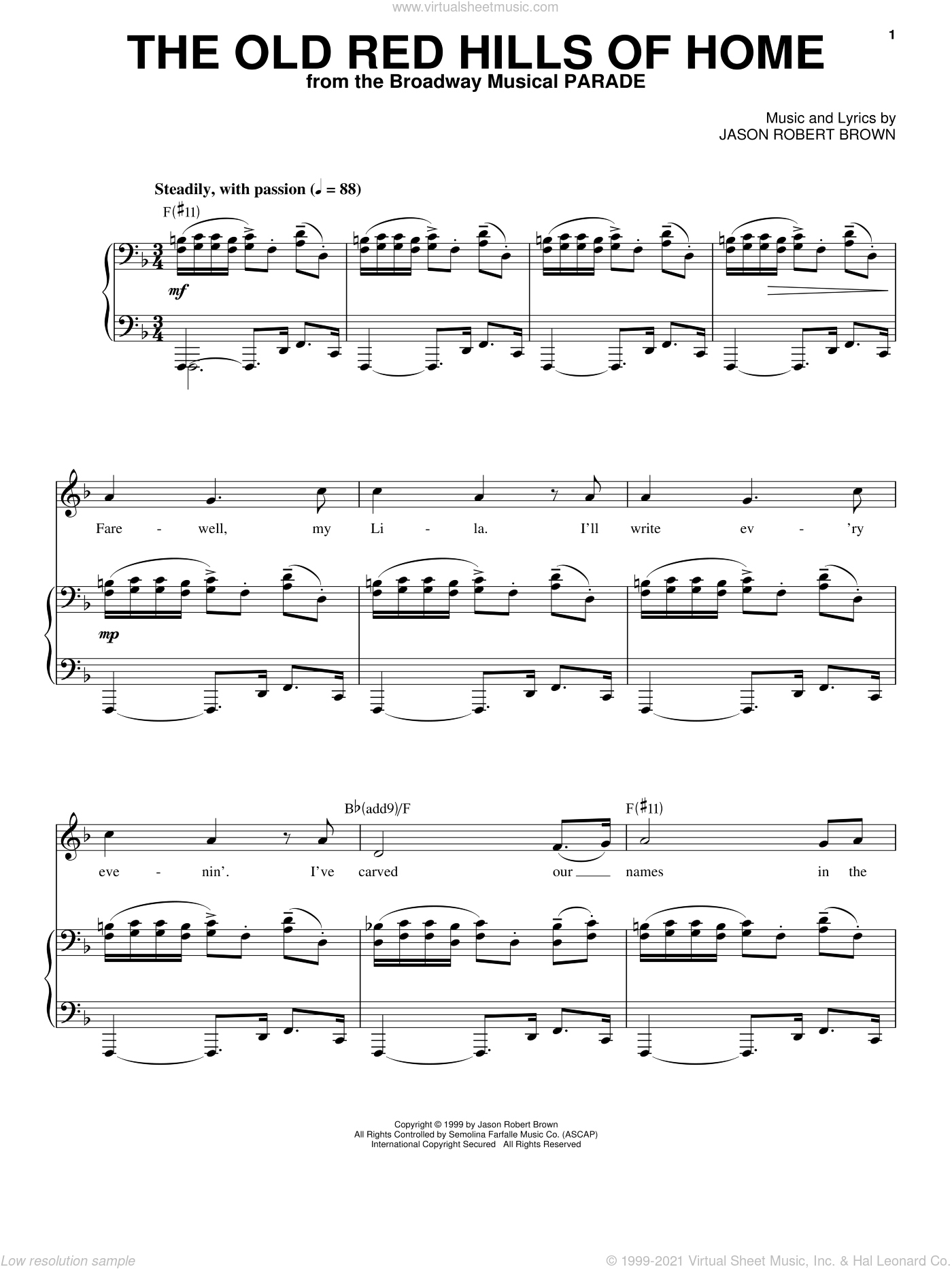 The Old Red Hills Of Home (from Parade) sheet music for voice and piano by Jason Robert Brown and Parade (Musical), intermediate skill level
