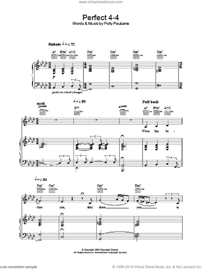 Perfect 4-4 sheet music for voice, piano or guitar by Polly Paulusma, intermediate skill level