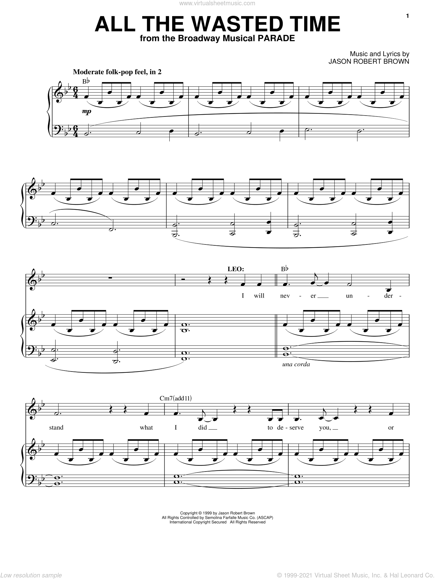 All The Wasted Time (from Parade) sheet music for voice and piano by Jason Robert Brown and Parade (Musical), intermediate skill level