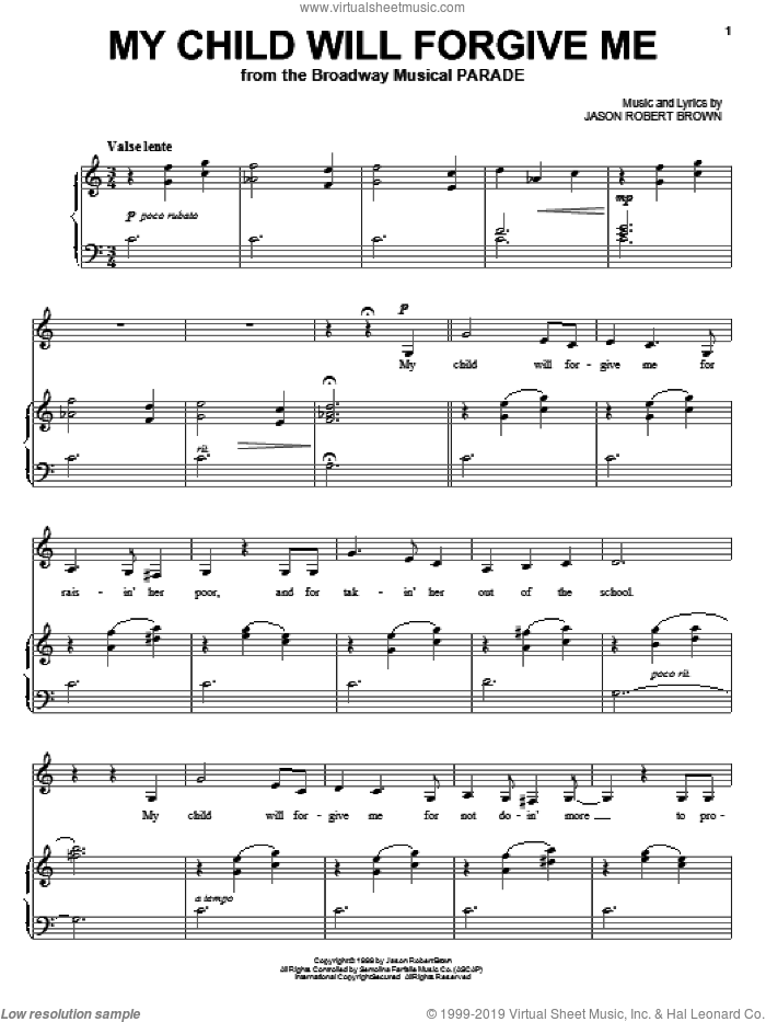 My Child Will Forgive Me sheet music for voice and piano by Jason Robert Brown and Parade (Musical), intermediate skill level