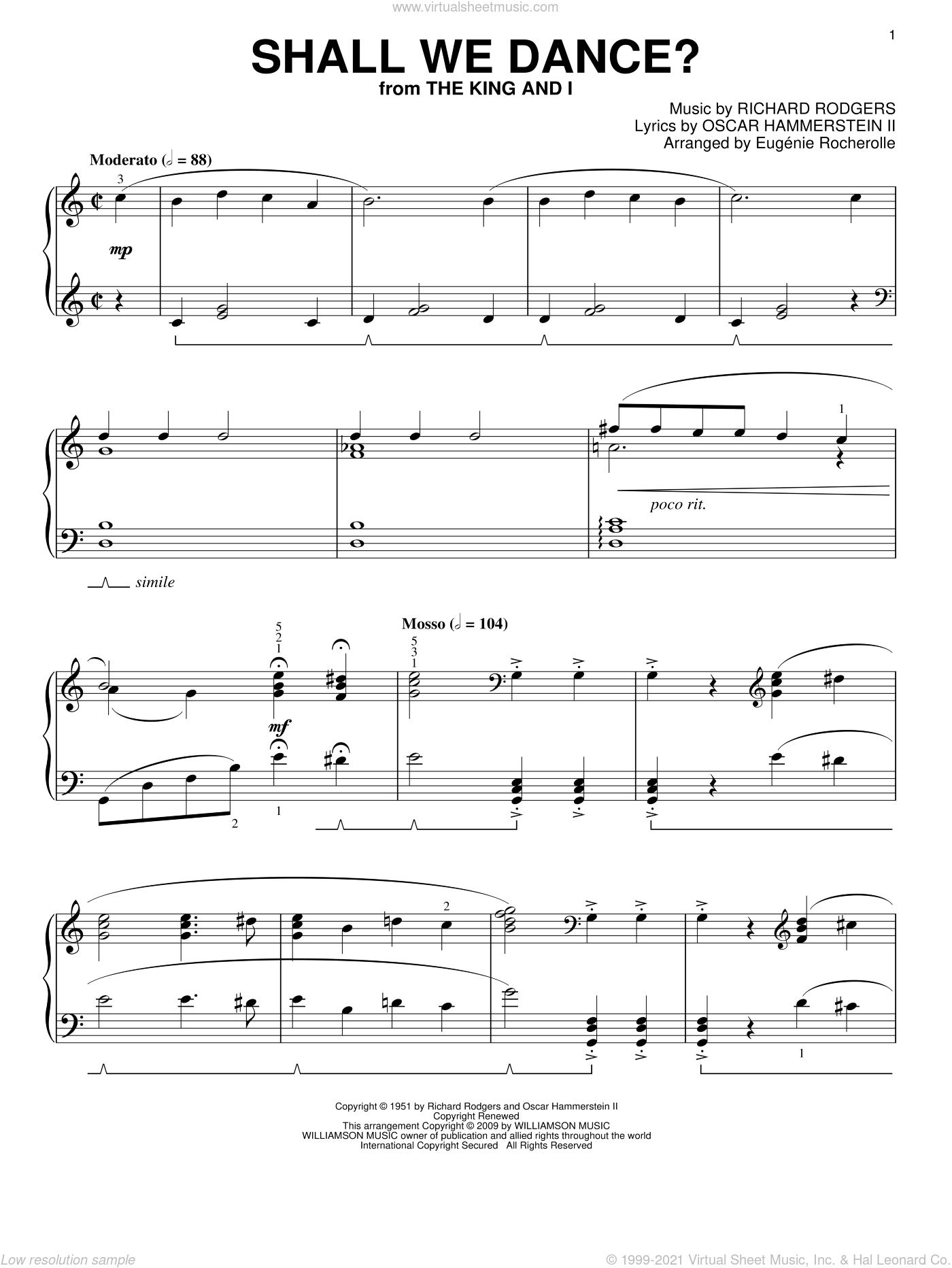 Shall We Dance? sheet music for piano solo by Rodgers & Hammerstein, Eugenie Rocherolle, Oscar II Hammerstein and Richard Rodgers, intermediate. Score Image Preview.