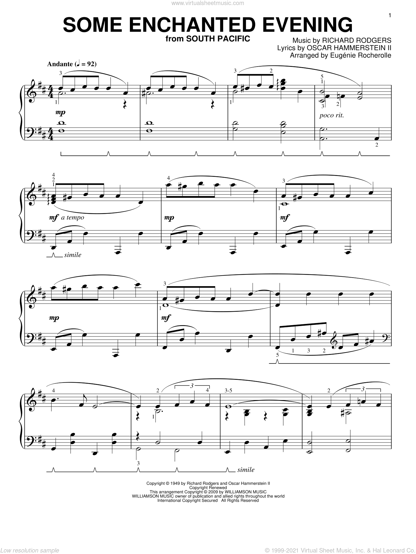 Some Enchanted Evening sheet music for piano solo by Rodgers & Hammerstein, Eugenie Rocherolle, South Pacific (Musical), Oscar II Hammerstein and Richard Rodgers, intermediate skill level