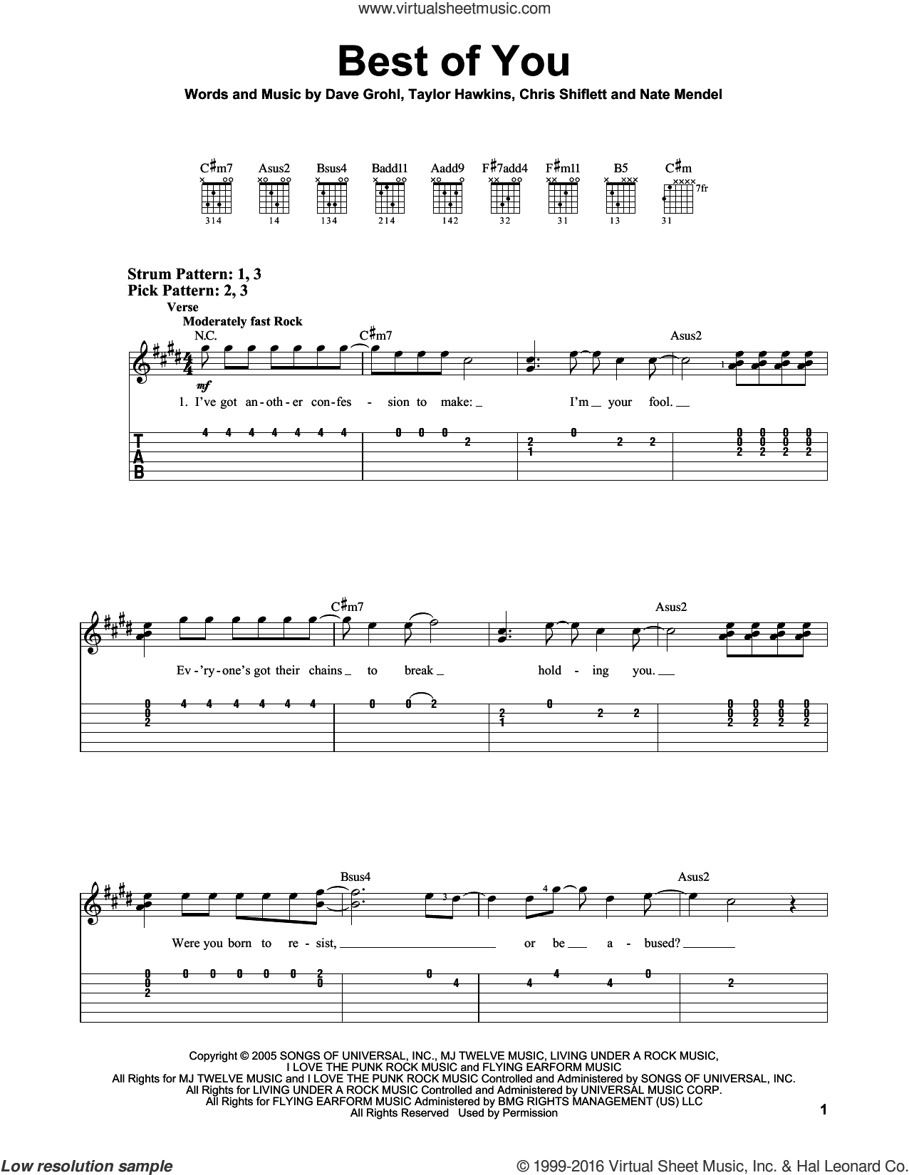 Best Of You sheet music for guitar solo (easy tablature) by Foo Fighters, Chris Shiflett, Dave Grohl, Nate Mendel and Taylor Hawkins, easy guitar (easy tablature)