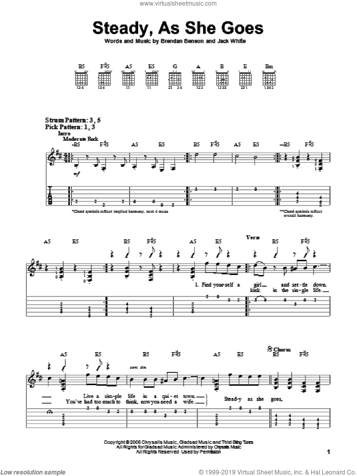 Steady, As She Goes sheet music for guitar solo (easy tablature) by The Raconteurs and Jack White. Score Image Preview.