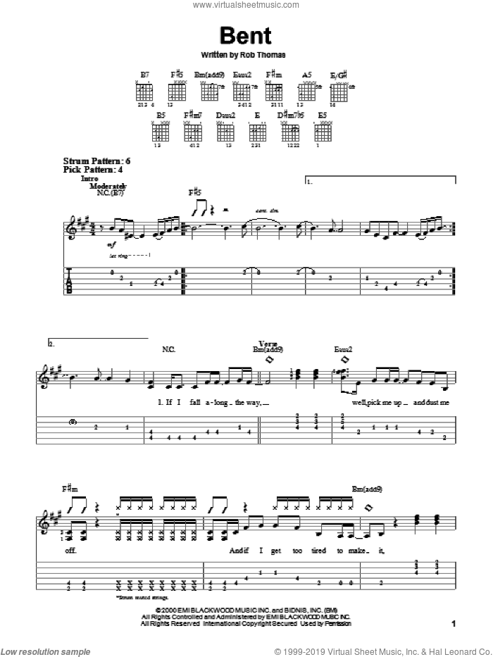 Bent sheet music for guitar solo (easy tablature) by Matchbox Twenty, Matchbox 20 and Rob Thomas, easy guitar (easy tablature). Score Image Preview.