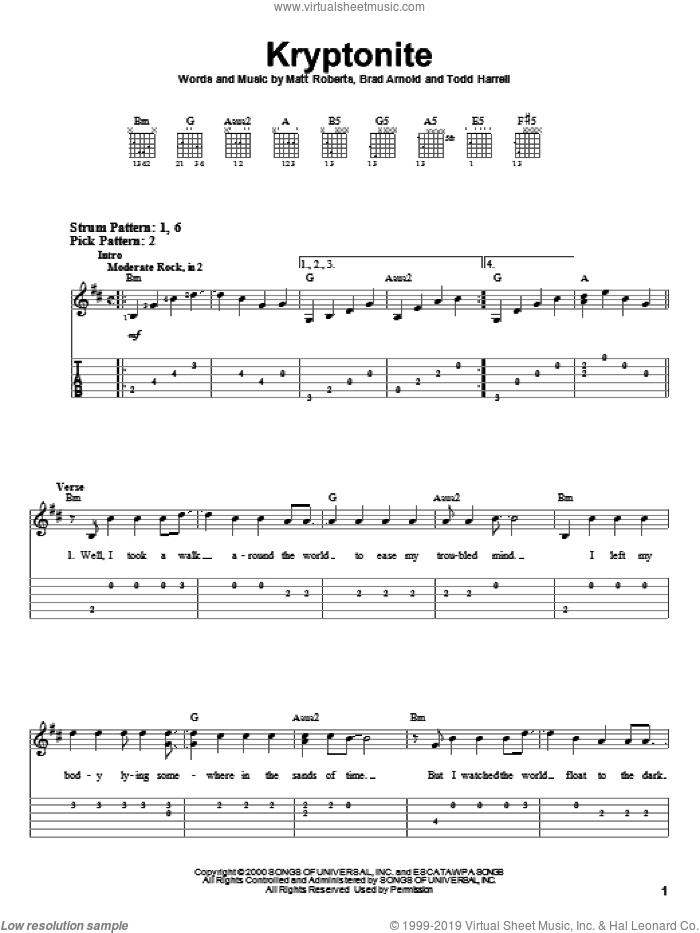 Kryptonite sheet music for guitar solo (easy tablature) by Todd Harrell and 3 Doors Down