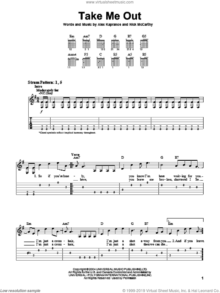 Take Me Out sheet music for guitar solo (easy tablature) by Nicholas McCarthy and Franz Ferdinand. Score Image Preview.