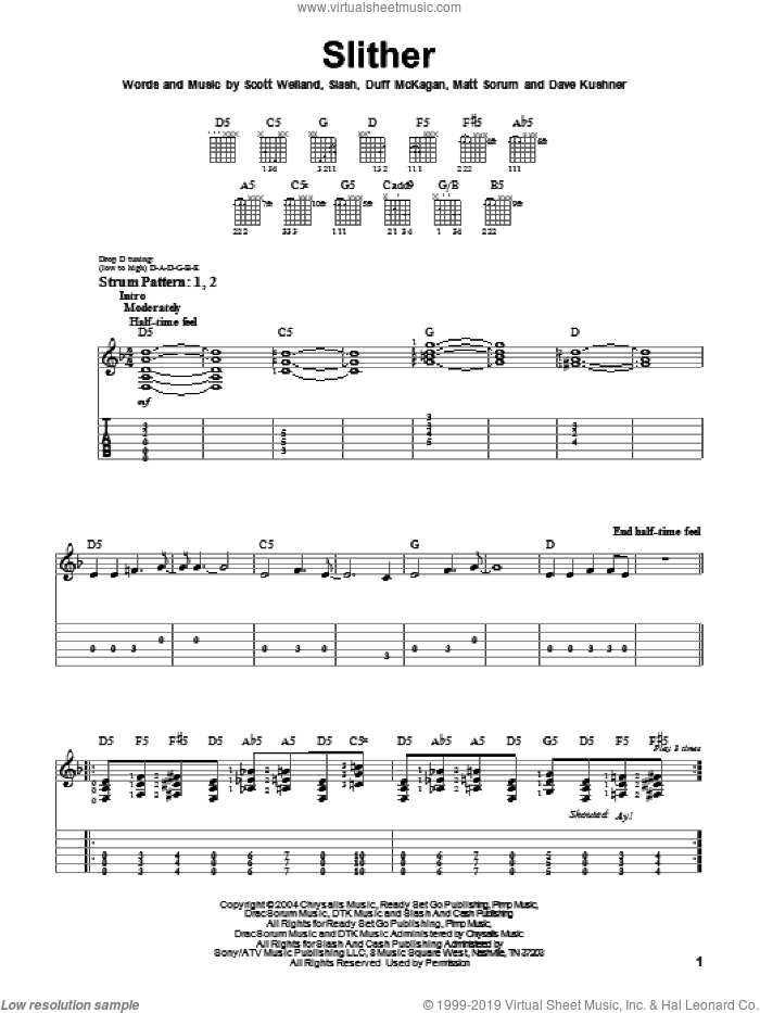 Slither sheet music for guitar solo (easy tablature) by Velvet Revolver, Duff McKagan and Slash, easy guitar (easy tablature). Score Image Preview.
