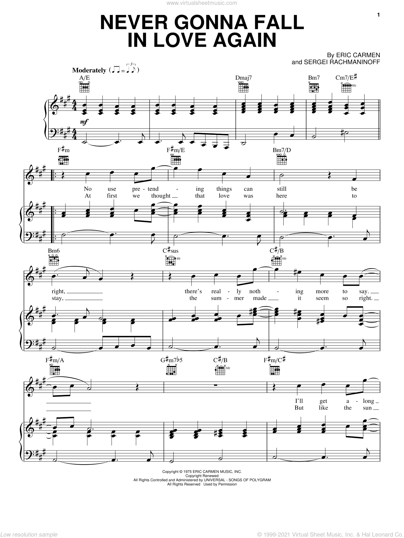 Never Gonna Fall In Love Again sheet music for voice, piano or guitar by Eric Carmen and Serjeij Rachmaninoff, intermediate skill level