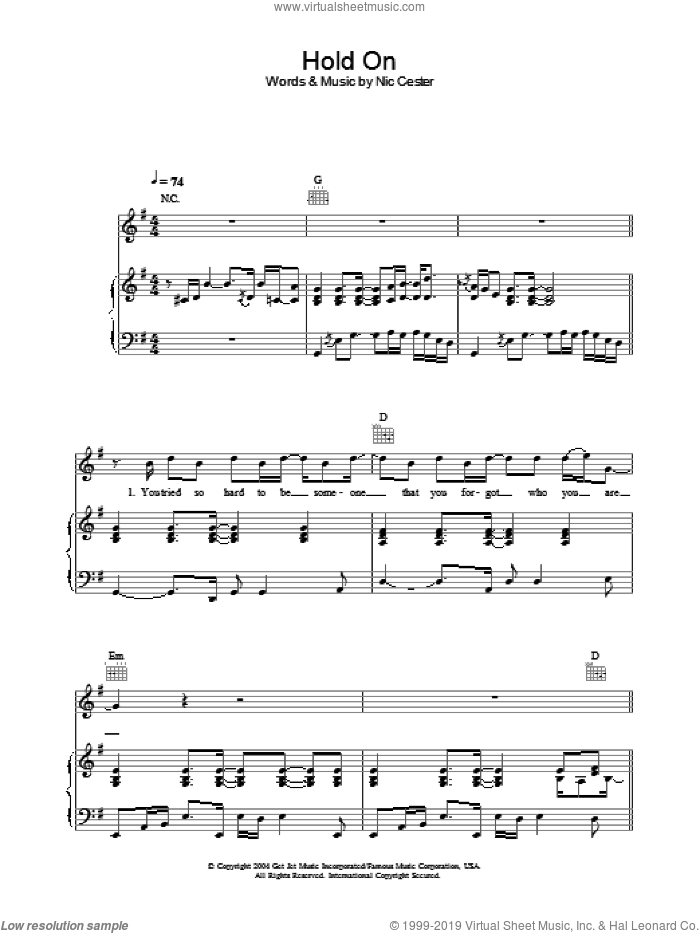 Hold On sheet music for voice, piano or guitar by Nic Cester. Score Image Preview.