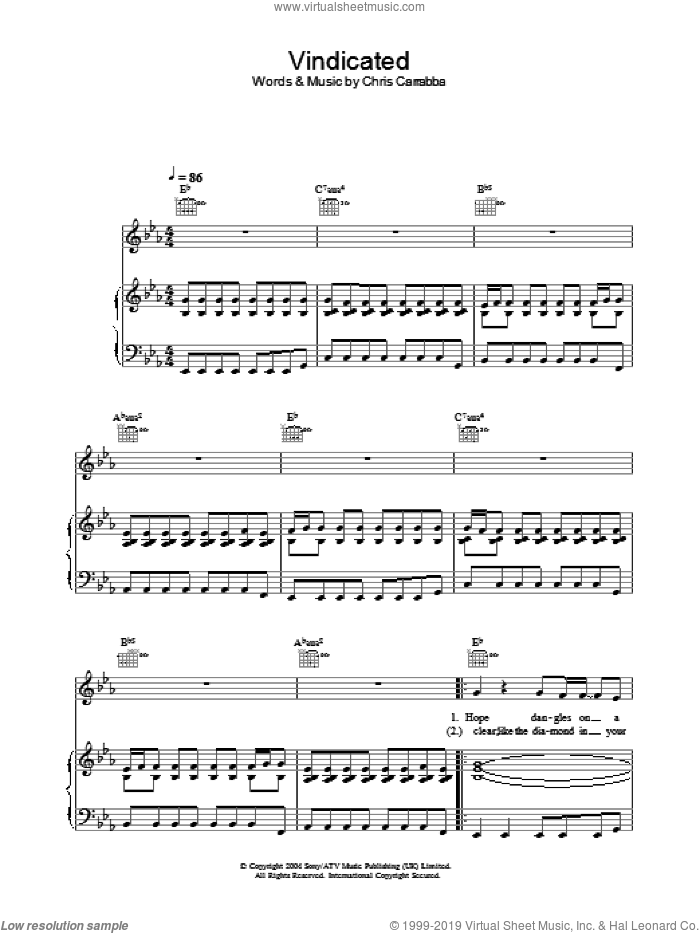 Vindicated sheet music for voice, piano or guitar by Dashboard Confessional. Score Image Preview.