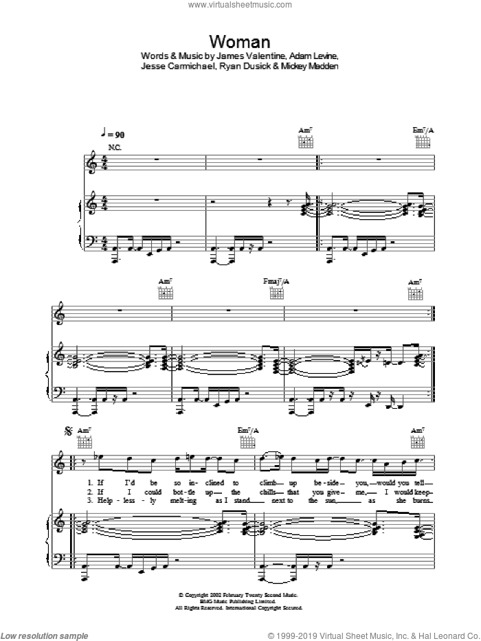 Woman sheet music for voice, piano or guitar by Maroon 5. Score Image Preview.