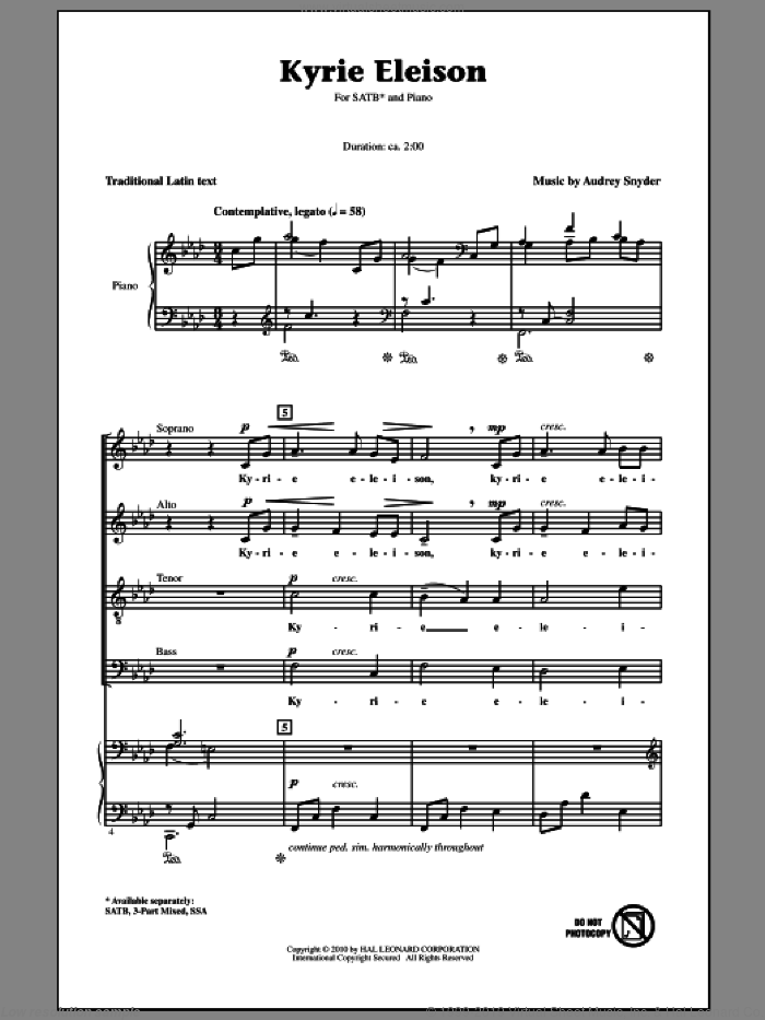 Kyrie Eleison sheet music for choir and piano (SATB)  and Audrey Snyder. Score Image Preview.
