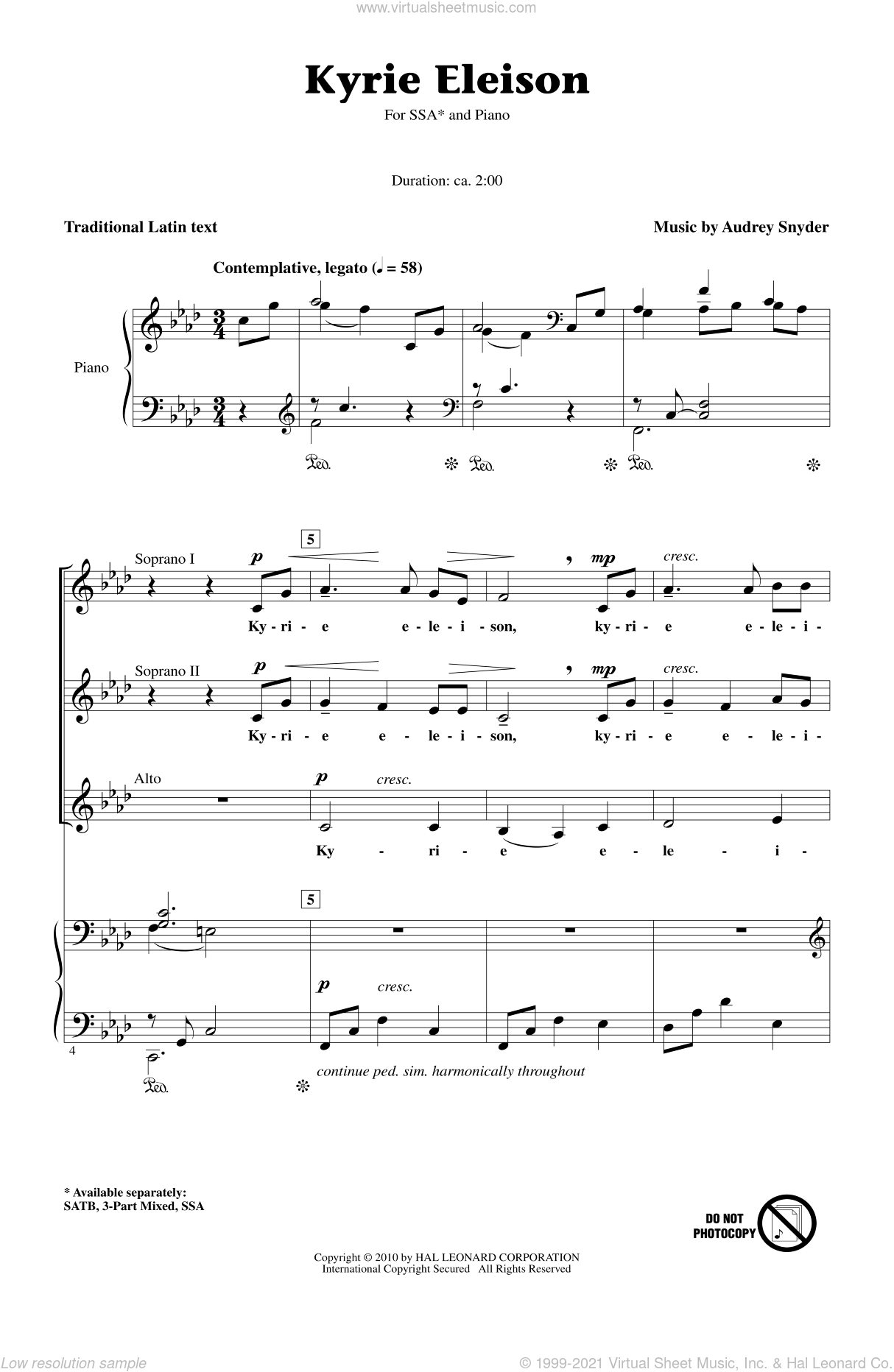 Kyrie Eleison sheet music for choir (soprano voice, alto voice, choir) by Audrey Snyder and Miscellaneous. Score Image Preview.