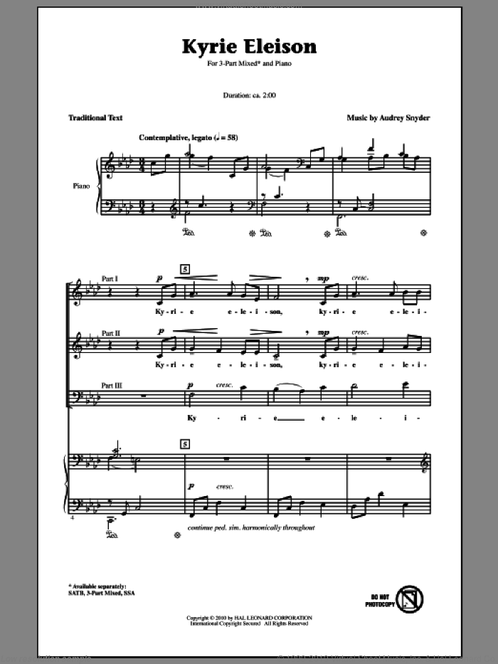 Kyrie Eleison sheet music for choir (3-Part Mixed) by Audrey Snyder and Miscellaneous, intermediate skill level