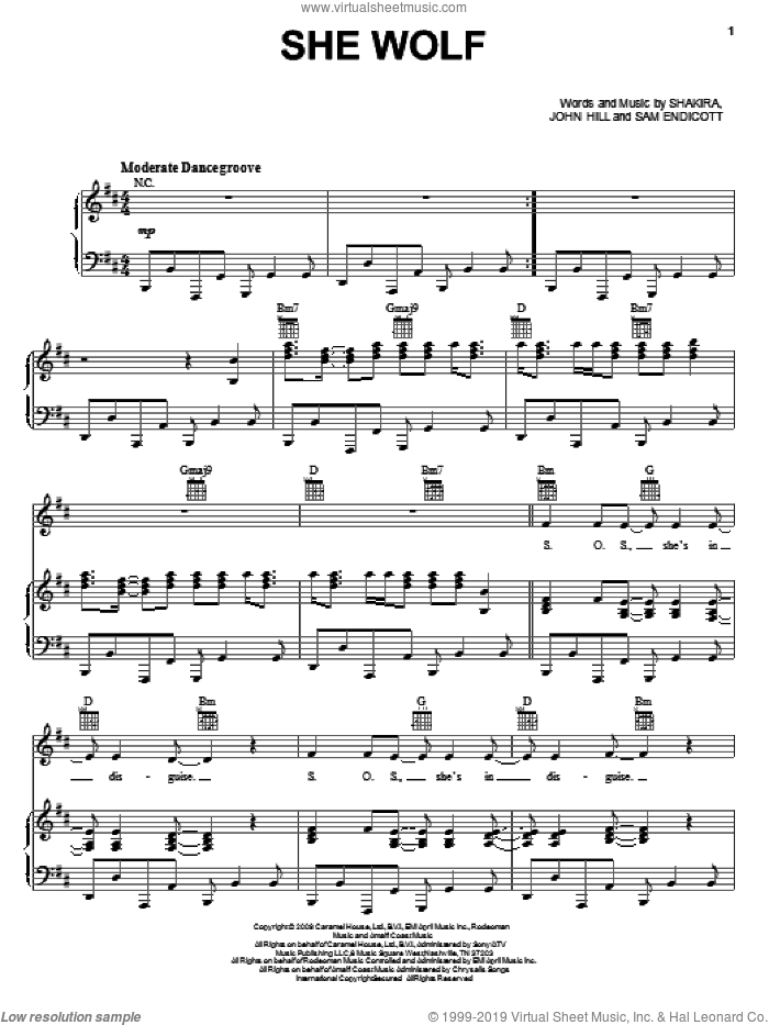 She Wolf sheet music for voice, piano or guitar by Shakira, John Hill and Samuel Endicott, intermediate voice, piano or guitar. Score Image Preview.