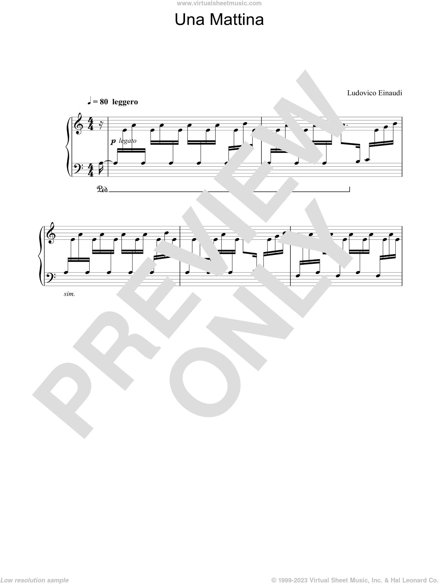 Una Mattina sheet music for piano solo by Ludovico Einaudi, classical score, intermediate skill level