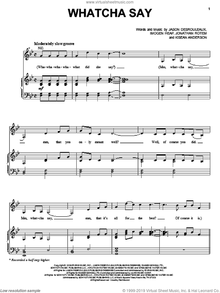 Whatcha Say sheet music for voice, piano or guitar by Jason Derulo, Imogen Heap, Jason Desrouleaux and Jonathan Rotem. Score Image Preview.