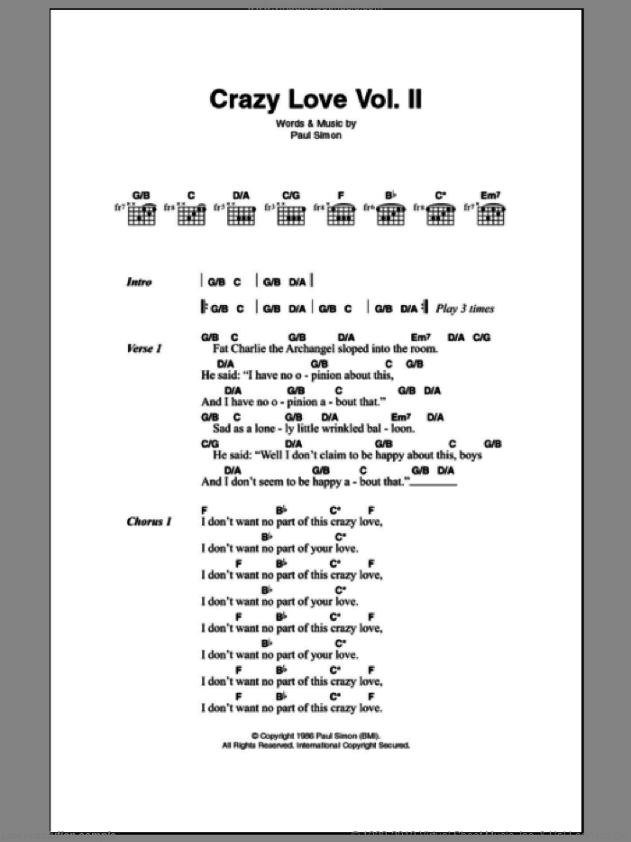 Crazy Love Vol. II sheet music for guitar (chords) by Paul Simon, intermediate guitar (chords). Score Image Preview.