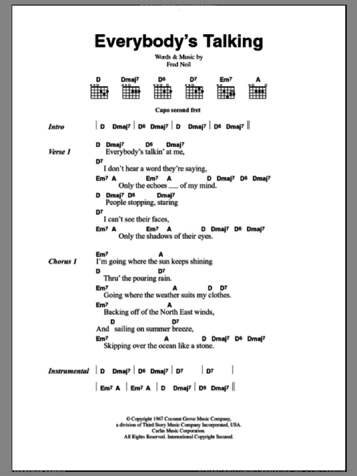 Everybody's Talkin' sheet music for guitar (chords) by Harry Nilsson and Fred Neil, intermediate skill level