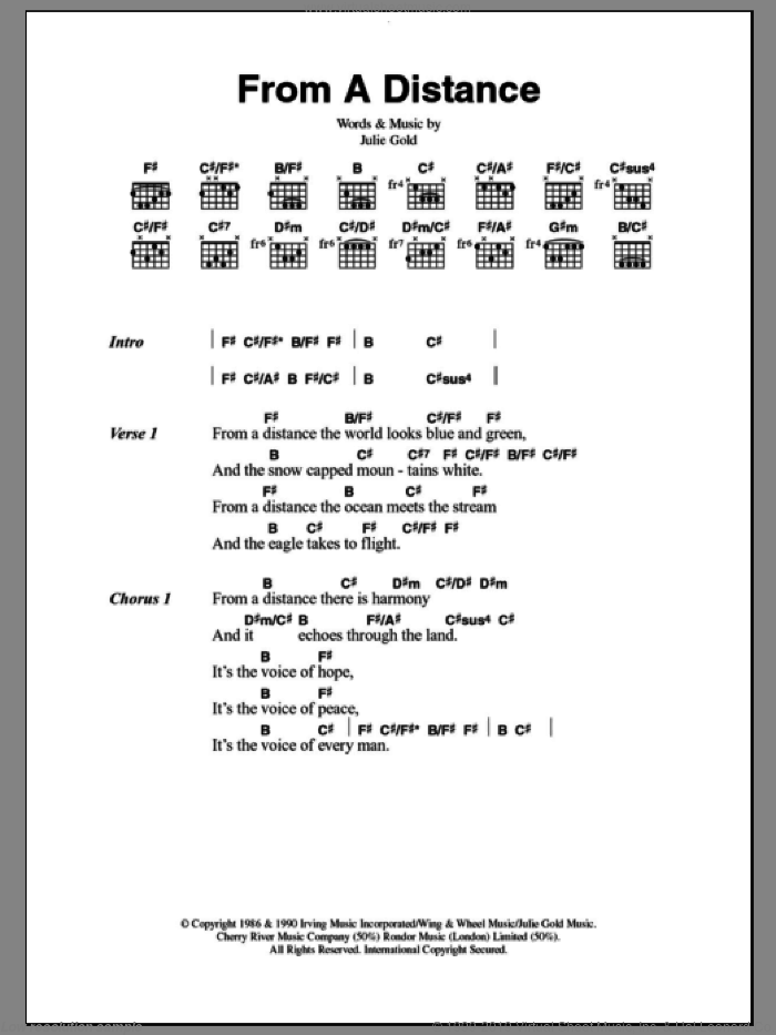 From A Distance sheet music for guitar (chords) by Bette Midler