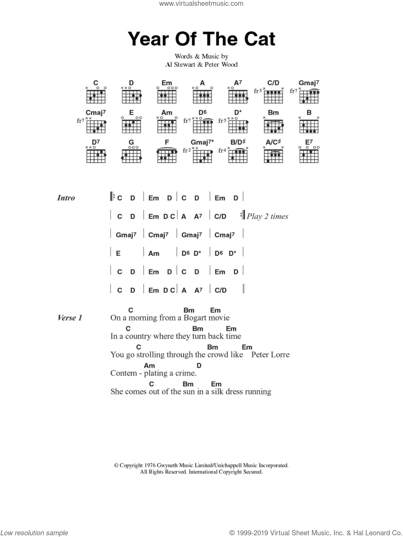 Year Of The Cat sheet music for guitar (chords) by Peter Wood and Al Stewart. Score Image Preview.