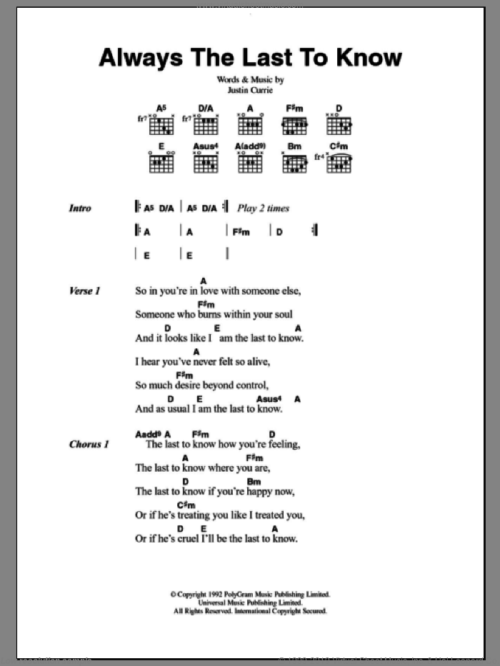 Always The Last To Know sheet music for guitar (chords) by Justin Currie and Del Amitri. Score Image Preview.