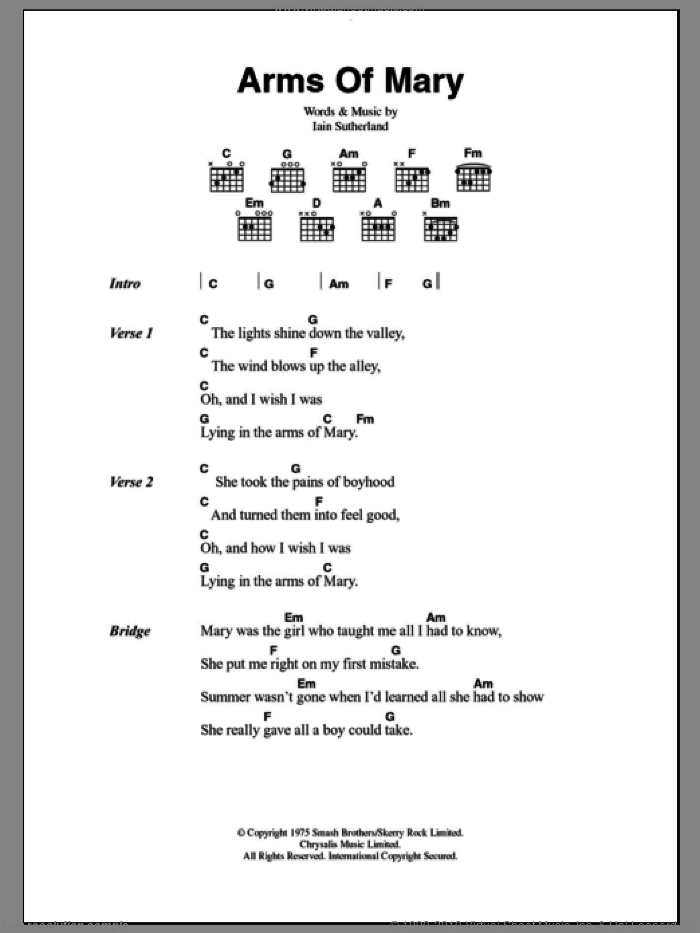 Quiver - Arms Of Mary sheet music for guitar (chords) [PDF]