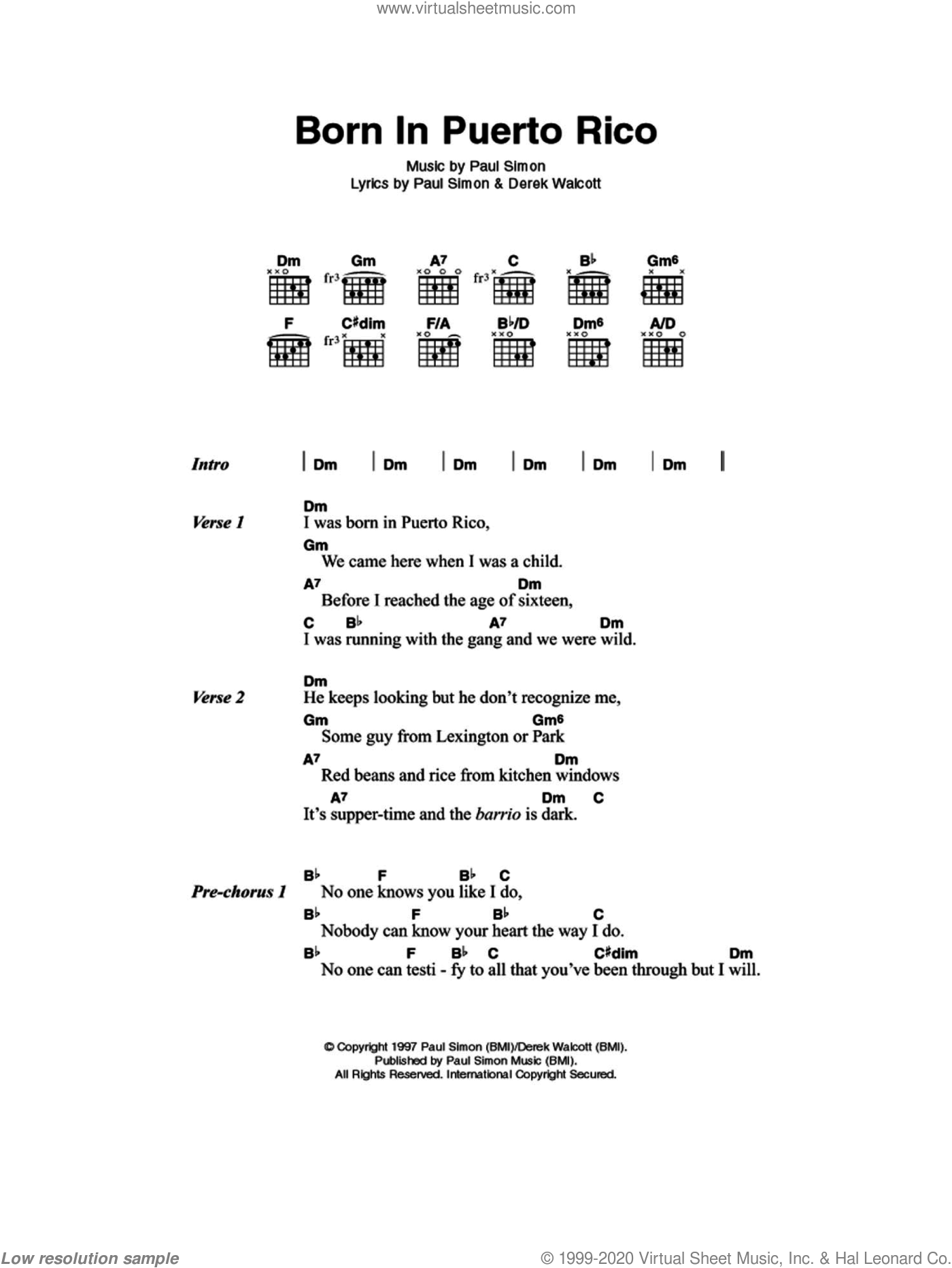 Simon - Born In Puerto Rico sheet music for guitar (chords) [PDF]