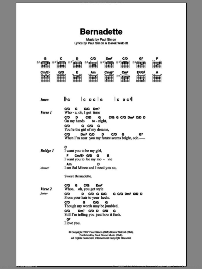 Bernadette sheet music for guitar (chords) by Paul Simon. Score Image Preview.