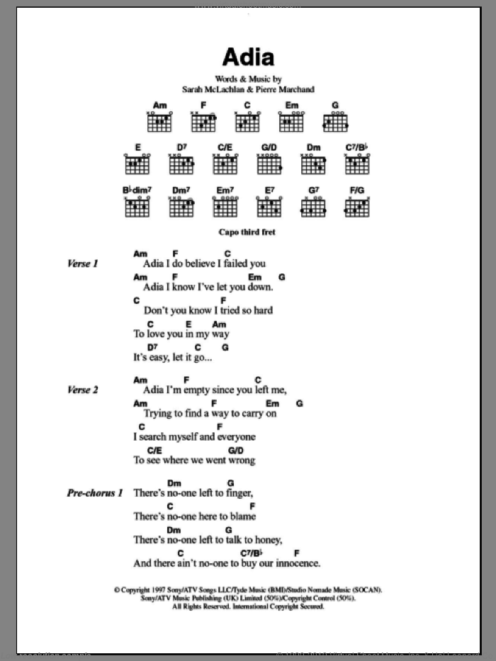 Adia sheet music for guitar (chords) by Sarah McLachlan, intermediate guitar (chords). Score Image Preview.