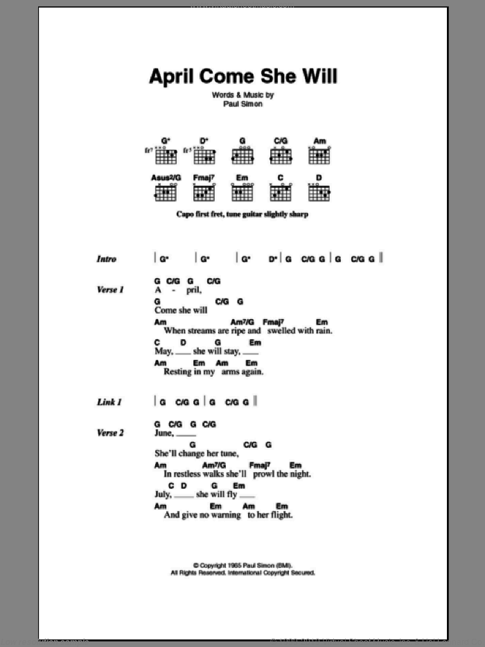 April Come She Will sheet music for guitar (chords) by Simon & Garfunkel and Paul Simon, intermediate. Score Image Preview.