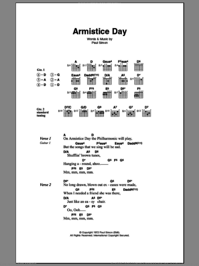 Armistice Day sheet music for guitar (chords) by Paul Simon. Score Image Preview.