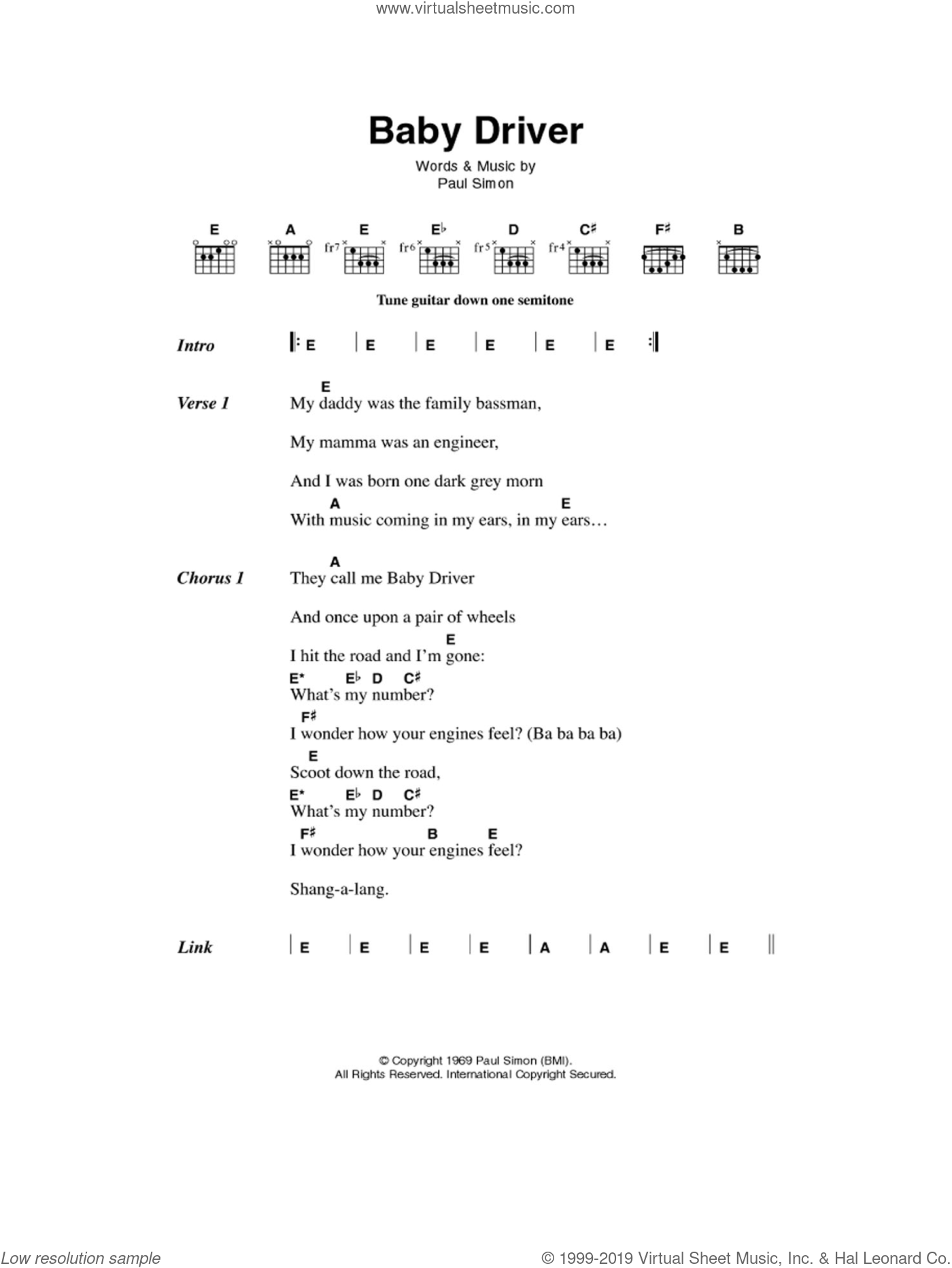 Baby Driver sheet music for guitar (chords) by Simon & Garfunkel and Paul Simon, intermediate guitar (chords). Score Image Preview.