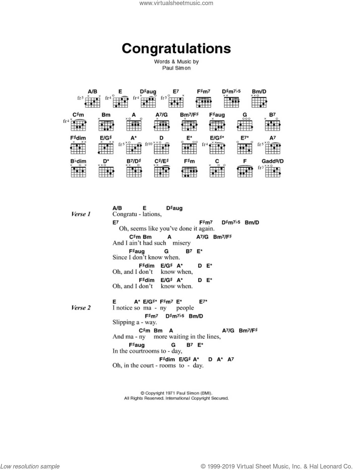 Simon - Congratulations sheet music for guitar (chords) [PDF]