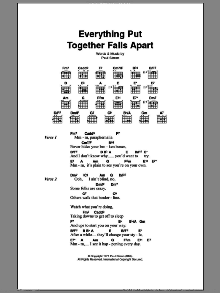 Everything Put Together Falls Apart sheet music for guitar (chords) by Paul Simon. Score Image Preview.