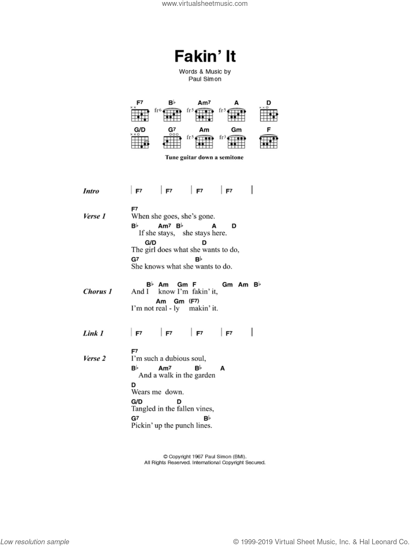 Fakin' It sheet music for guitar (chords) by Paul Simon and Simon & Garfunkel. Score Image Preview.