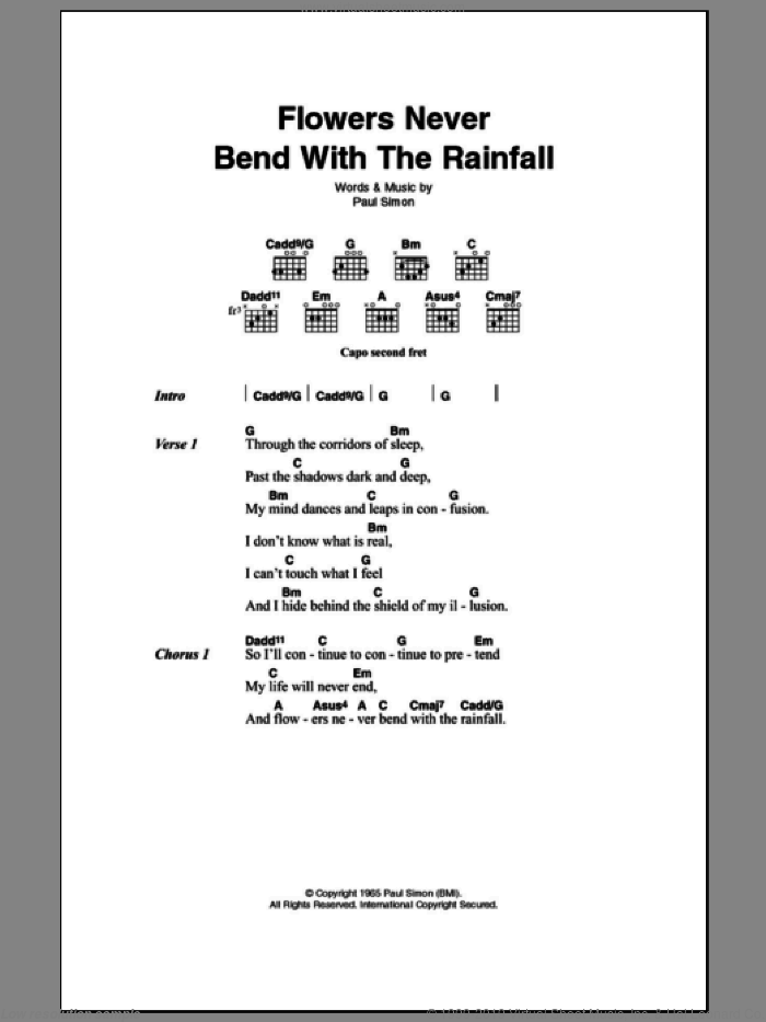 Flowers Never Bend With The Rainfall sheet music for guitar (chords) by Paul Simon and Simon & Garfunkel. Score Image Preview.