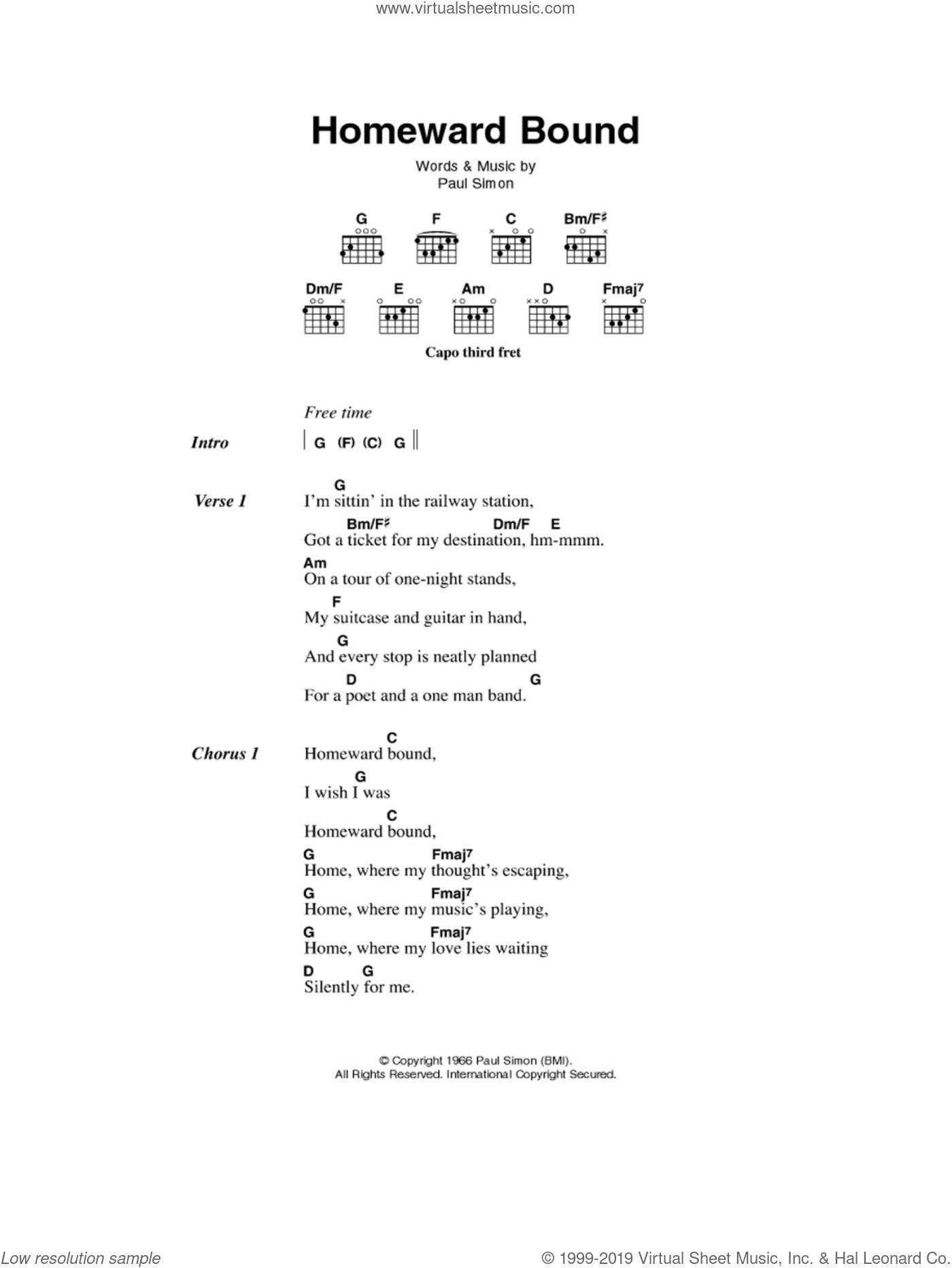 Garfunkel   Homeward Bound sheet music for guitar chords v15