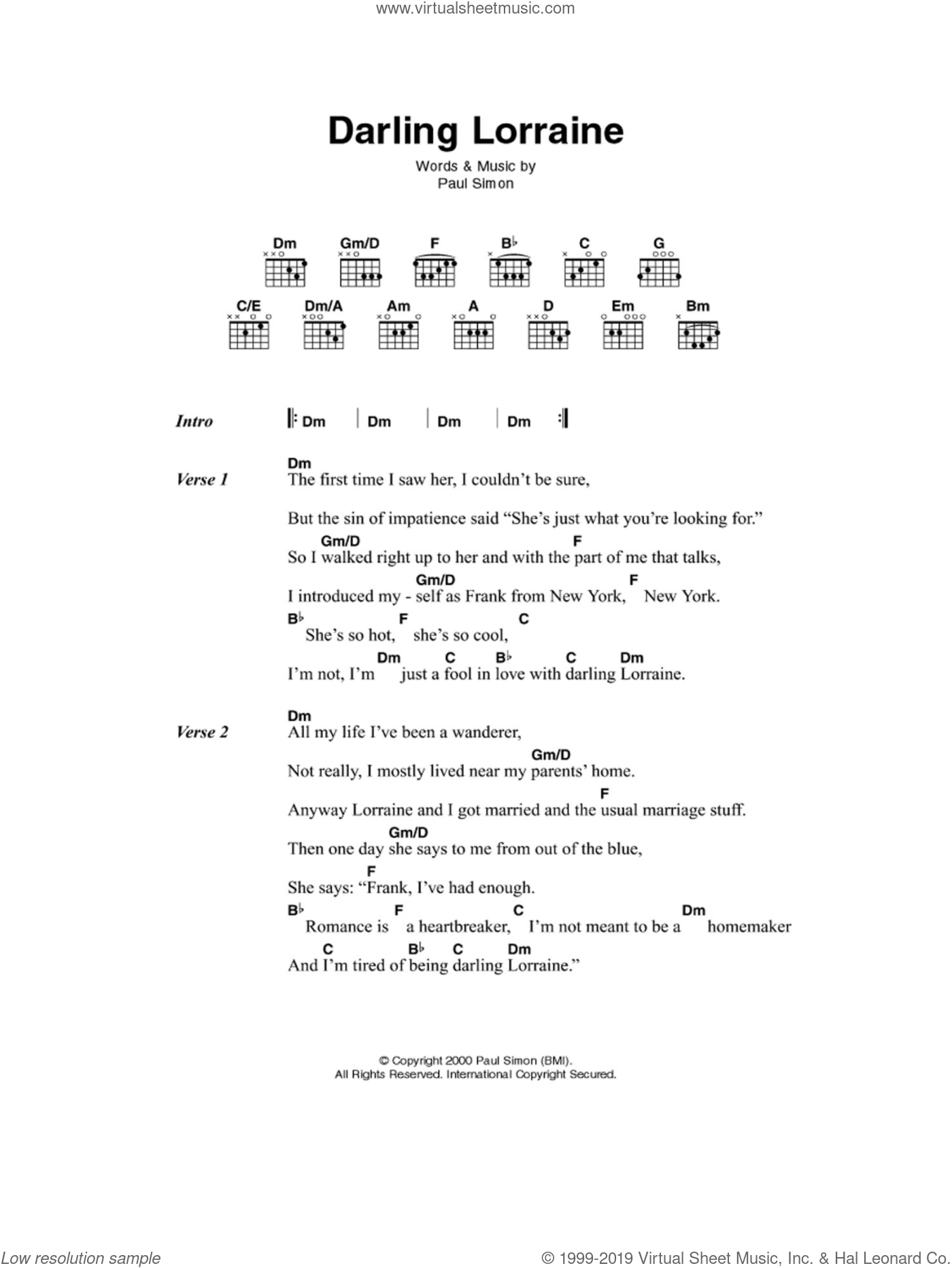 Darling Lorraine sheet music for guitar (chords) by Paul Simon