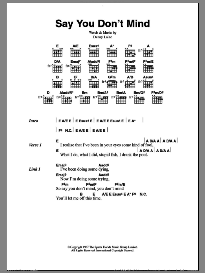 Say You Don't Mind sheet music for guitar (chords, lyrics, melody) by Denny Laine