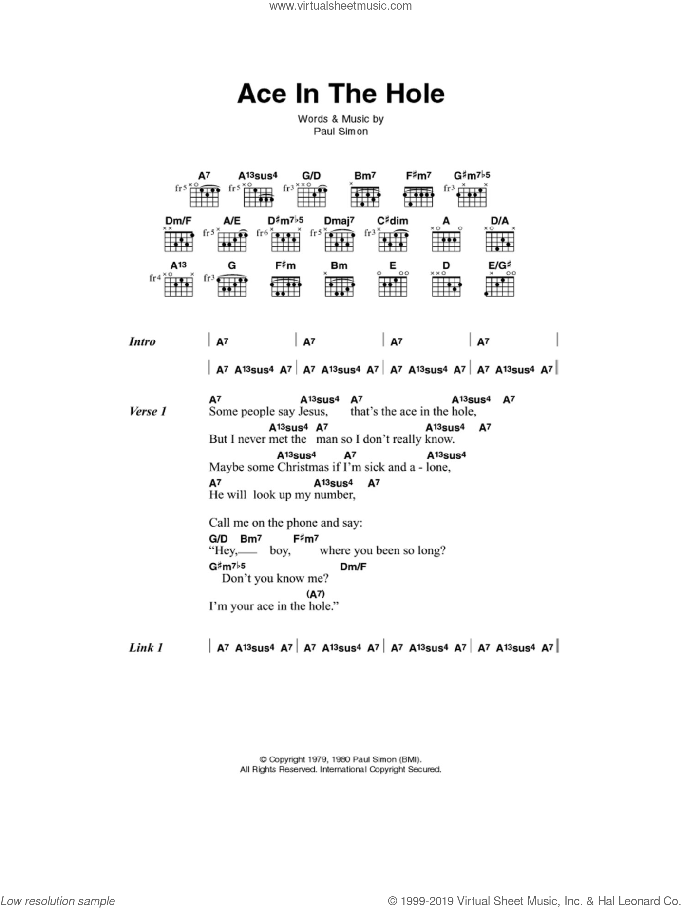 Ace In The Hole sheet music for guitar (chords, lyrics, melody) by Paul Simon