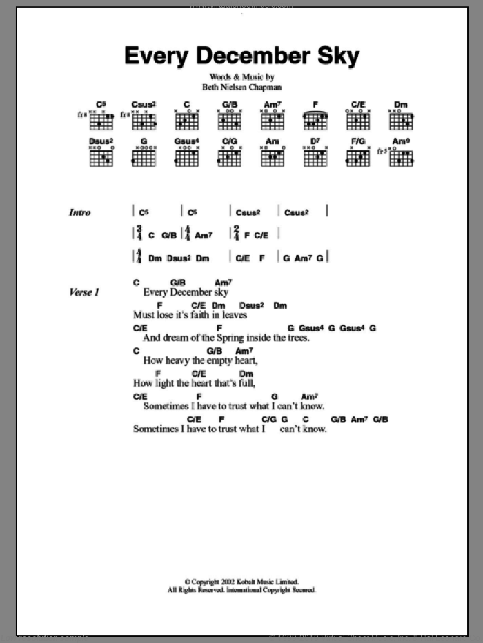 Every December Sky sheet music for guitar (chords) by Beth Nielsen Chapman, intermediate guitar (chords). Score Image Preview.