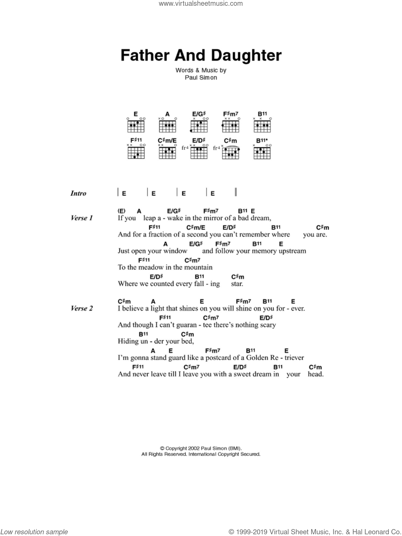 Simon - Father And Daughter sheet music for guitar (chords) [PDF]