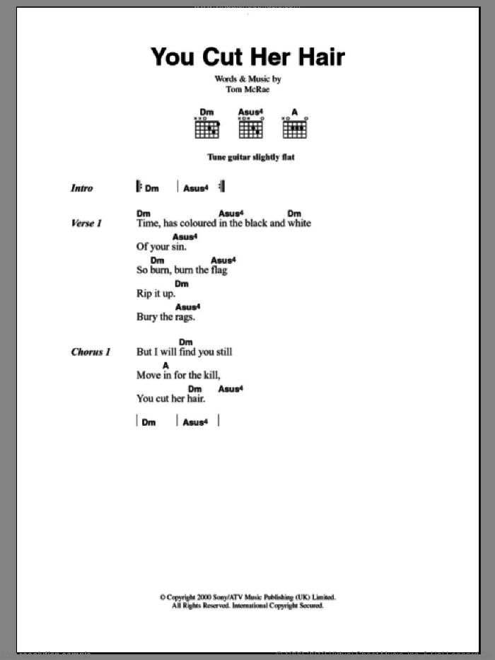 You Cut Her Hair sheet music for guitar (chords) by Tom McRae. Score Image Preview.