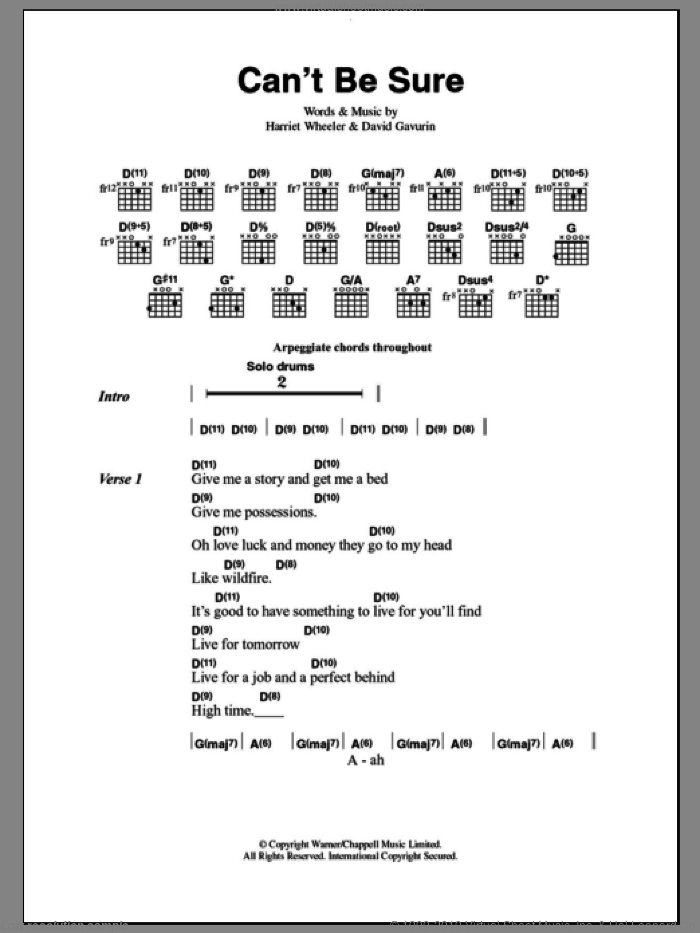 Can't Be Sure sheet music for guitar (chords) by The Sundays, intermediate guitar (chords). Score Image Preview.