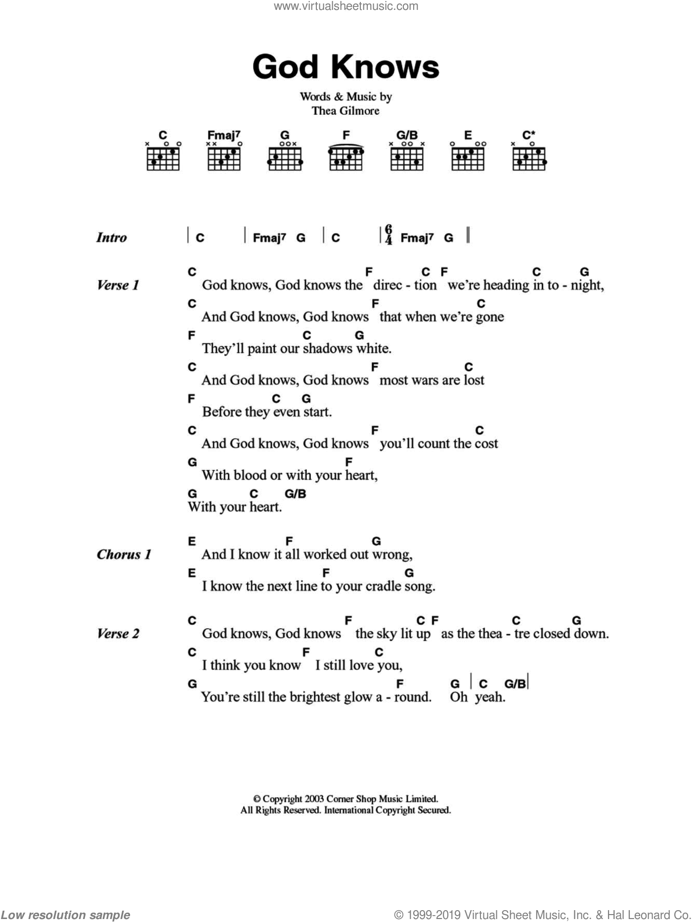 God Knows sheet music for guitar (chords) by Thea Gilmore. Score Image Preview.
