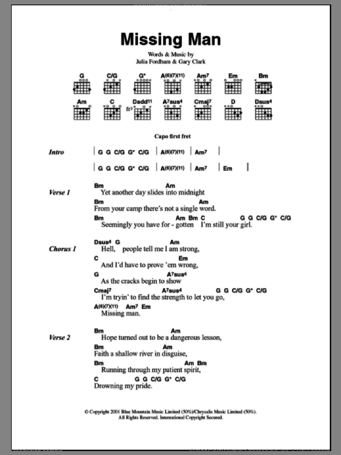 Missing Man sheet music for guitar (chords) by Gary Clark